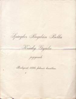 Spiegler Bogdán Bella és Krúdy Gyula jegyesek – ritka kisnyomtatvány 1898-ból. Házasságuk 1919-ig tartott