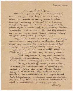 József Attila (1905–1937) autográf levele mentorának, Galamb Ödönnek (1888–1944)