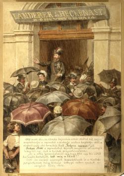 Barabás Miklós: Jókai a Landerer és Heckenast nyomda előtt, 1893