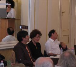 Török András (az NKA korábbi elnöke), Tószegi Zsuzsa (a Neumann Kht. volt vezetője) és Rónai Iván (OKM)