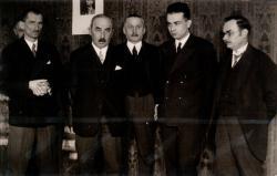 A Baumgarten-díj kiosztása: Tersánszky Józsi Jenő, Révész Béla, Salgó Ernő, lllyés Gyula, Bartucz Lajos (1931)