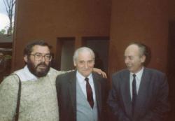 Baka István, Kányádi Sándor és Domokos Mátyás Bibó-konferencián Svájcban (1991)