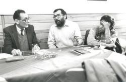 Könyvbemutatón Fried István és Balogh József társaságában (1994)