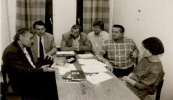 A Hitel szerkesztőségében: Csoóri Sándor, Görömbei András, Lázár Ervin, Nagy Gáspár, Tőkéczki László, Rátkay Ildikó (1991)