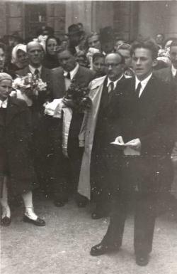 Ágh István Batsányi János gimnázium ballagási ünnepségén szaval (Tapolca, 1956. május 11.)