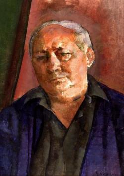 Gerzson Pál: Ágh István (akvarell, papír, 66 x 48 cm)
