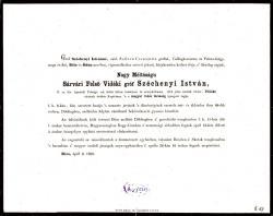 """A """"legnagyobb magyar"""" családja által kiadott gyászjelentés: Széchenyi István """"élete 68. évében szélhüdésben váratlanul elhunyt…"""""""