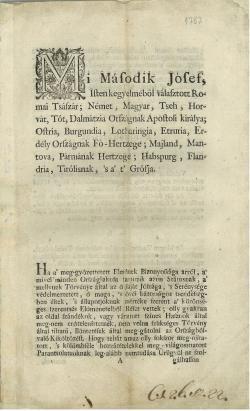 II. József császár 1787-ben hozott rendelete a költözésről, az idegen katonák fogadásáról, a jobbágyok erőszakos elhurcolásáról