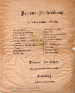 Petőfi Sándor ellen 1849-ben kiadott körözőlevél, részletes személyleírással