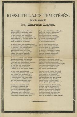 Kossuth Lajos halálára írt búcsúztató vers 1894-ből Bartók Lajos (1851–1902) tollából