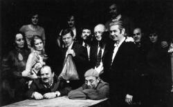Az Öreg ház 1978-as előadásának alkotói a szerző, Csiki László társaságában