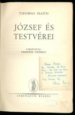Thomas Mann: József és testvérei Budapest, Athenaeum, 1946.