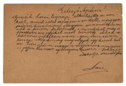Cs. Szabó László (1905–1984) apjának, Cs. Szabó Kálmánnak (1878–1952) írott autográf postai levelezőlapja