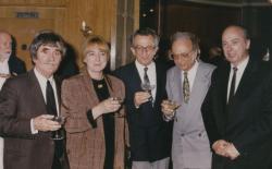 MTA Közgyűlés utáni vacsora, 1996. május 9. (Juhász Ferenc és felesége, Lator László, Lengyel Balázs és Domokos Mátyás)