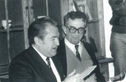 Fodor András és Lator László az Irodalmi kávéház Szabad megfújnom szittya lantomat című műsora rádiófelvételén, 1991. november 18. (Karai S. felvétele)