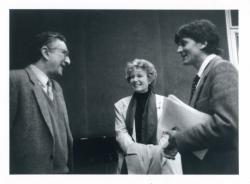 Lator László, Dacia Maraini (Moravia volt élettársa) és Barna Imre a római Magyar Akadémián, 1997-98 körül