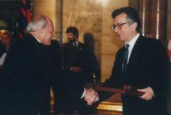 Göncz Árpád és Lator László a Kossuth-díj átadásán, 1995