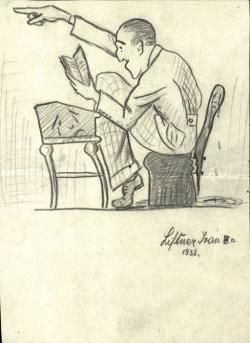 Diákkarikatúrák a tanár Szentkuthy Miklósról, Madách Gimnázium, 1938