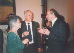 Dobos Lászlóék és Frantisek Miklosko, a Szlovák Nemzeti Tanács elnöke a pozsonyi Várban, 1992