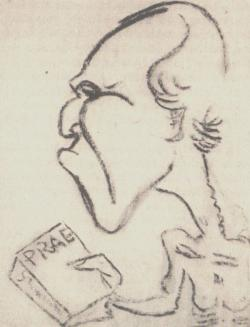 Karikatúra a Prae szerzőjéről (30-as évek)