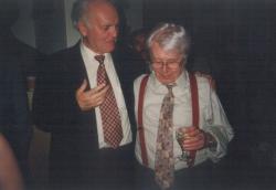 Barátjával, Sütő Andrással Marosvásárhelyen, 1997. június 14.
