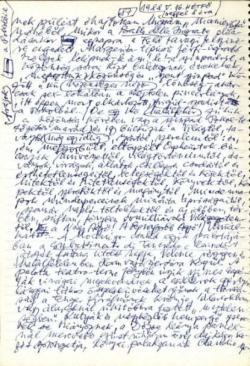 Szentkuthy Miklós életének utolsó szépirodalmi kéziratoldala, az Euridiké nyomában című regényből, amely befejezetlen maradt