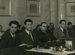 A Baumgarten-díj kiosztásán. Lakatos István, Karinthy Ferenc, Szigeti József, Benjámin László (Budapest, 1949 január 18.)