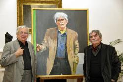 Konok Tamás Kossuth-díjas festőművész és Juhász Ferenc a költő portréjának bemutatásán (2009. május 13., DIA)