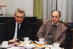 Lakatos István és Domokos Mátyás. Kosáry Domokos teadélutánján (1995 ősz, MTA)