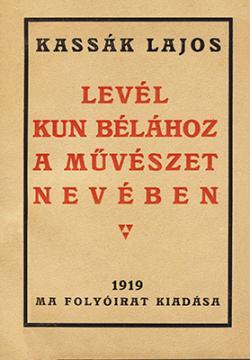 Levél Kun Bélához a művészet nevében (1919)