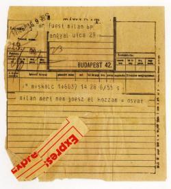 Osvát Ernő távirata Füst Milánnak (1920)