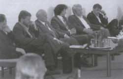 Sándor Iván, Csiki László, Göncz Árpád, Csuhai István, Bertók László és Parti Nagy Lajos (Pécs, 1990)
