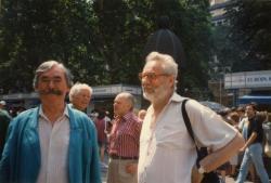 Szakonyi Károly és Csukás István (Ünnepi Könyvhét 1996, Vörösmarty tér)