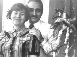 Feleségével 1974 karácsonyán