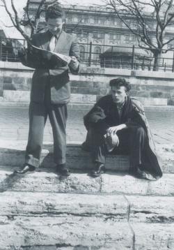 Évfolyamtársával, Arnóth Károllyal 1957 tavaszán (vele élte át a Kossuth téri sortüzet 1956. október 25-én)