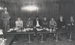 A Varsói Magyar Intézetben, 1989 szeptember végén (középen: Papp Árpád, Tolnai Ottó, Ágh István)