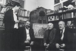 Évzáró buli Szunyoghy András műtermében, 2003. dec. 31. (Lázár Ervin és fia, Ágh István, Szunyoghy András)