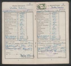 Gimnáziumi bizonyítványa 1958-ból