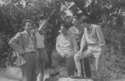 Kiss Dénes, Kertész Ákos, Tüskés Tibor, Szakonyi Károly és Bertha Bulcsu Balatongyörökön
