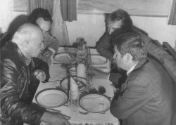 A Balatoni Intéző Bizottság rendezvényen: Illyés Gyula, Tamás István, Görgey Gábor és Bertha Bulcsu egy hajón (1978)