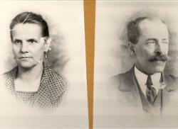 Édesanyja 1924-ben és édesapja 1920-ban készült fotója, ahogyan a költő nap mint nap látta őket szobája falán.
