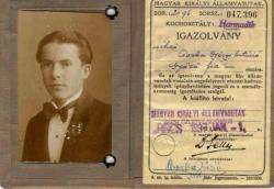1937. Magyar Királyi Államvasutak arcképes igazolvány.