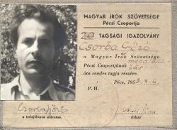 1953. Igazolványkép. Magyar Írók Szövetsége Pécsi Csoportja.