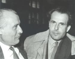 1962. Csorba Győző és Takáts Gyula az Írószövetség közgyűlésén, Budapesten.