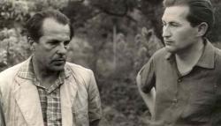 1963. június 29. Csorba Győző és Fodor András Pécsett, Csorba kertjében.