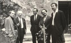 1971. június 1. Csorba Győző, Hárs László, Pál József, Jobbágy Károly és Gergely Mihály.