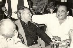 1982. szeptember 2. Takáts Gyula, Csorba Győző és Galsai Pongrác a keszthelyi Írótalálkozón.
