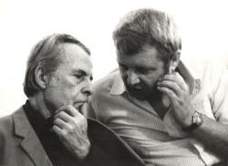 1986. szeptember 16. Iszkáz. Csorba Győző és Bertók László a Nagy László-emlékünnepélyen.