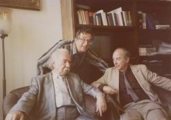 Az Akadémia egyik kis társalgójában Határ Győző, Domokos Mátyás, Lator László, 1995
