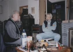 Gyémánt László műtermében – bemutatja Győző portréját a DIA számára, 1998 szeptember